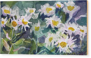 Little Asters Wood Print by Jan Bennicoff