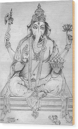 Lord Ganesha Wood Print by Tanmay Singh