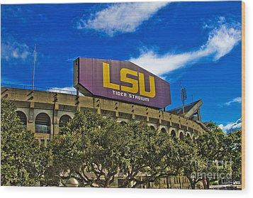 Lsu Tiger Stadium Wood Print by Scott Pellegrin