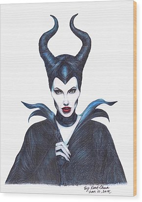 Maleficent  Once Upon A Dream Wood Print by Kent Chua
