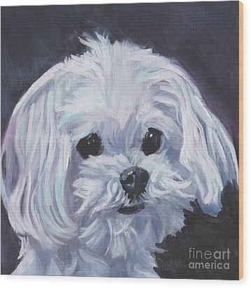 Wood Print featuring the painting Maltese by Lee Ann Shepard