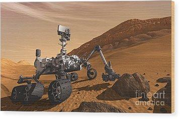 Mars Rover Curiosity, Artists Rendering Wood Print by NASA/Science Source