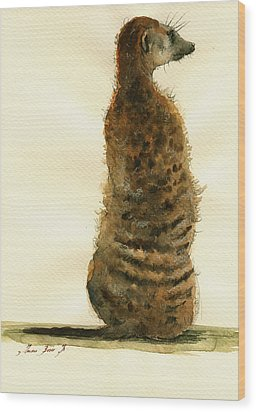 Meerkat Or Suricate Painting Wood Print