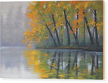 Misty Lake Wood Print by Graham Gercken