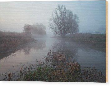 Misty River Nene Wood Print