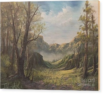 Misty Valley Wood Print