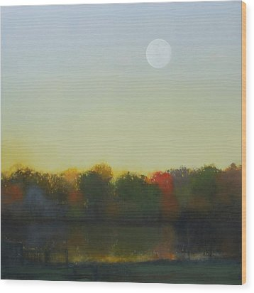 Wood Print featuring the painting Moonrise-footbridge At White Rock by Cap Pannell