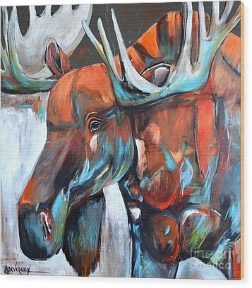Wood Print featuring the painting Moose by Cher Devereaux