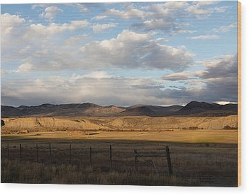 Mountain Meadow And Hay Bales In Grand County Wood Print by Carol M Highsmith
