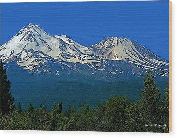 Mt. Shasta Wood Print by Steve Warnstaff