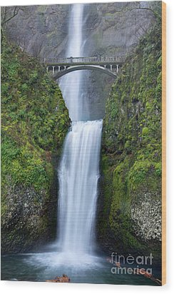 Multnomah Falls Waterfall Oregon Columbia River Gorge Wood Print by Dustin K Ryan