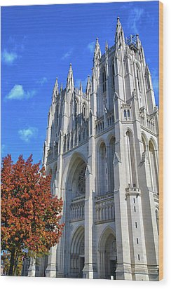 Wood Print featuring the photograph National Cathedral by Mitch Cat