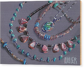 Navajo Jewelry Wood Print by Donald Maier