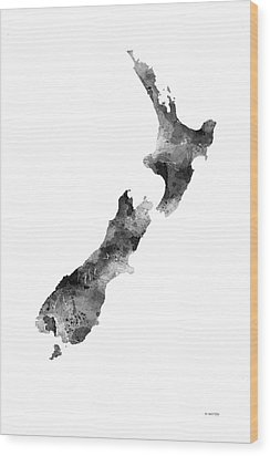 New Zealand Map Wood Print by Marlene Watson
