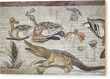 Nile Flora And Fauna, Roman Mosaic Wood Print by Sheila Terry