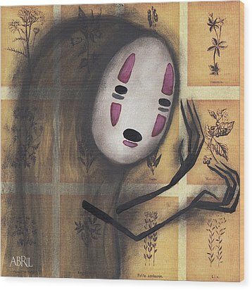No Face Wood Print by Abril Andrade Griffith