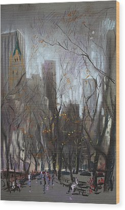 Nyc Central Park Wood Print by Ylli Haruni