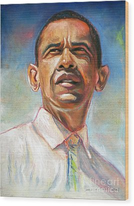 Obama 08 Wood Print by Dennis Rennock