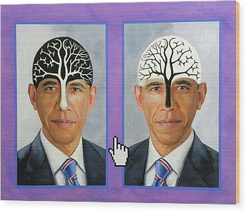 Obama Trees Of Knowledge Wood Print by Richard Barone