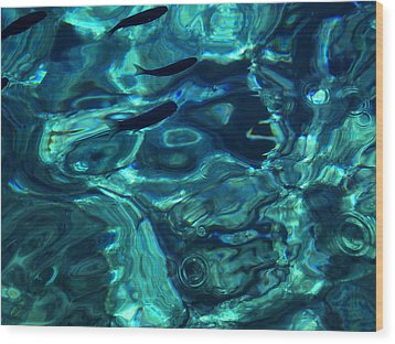 Wood Print featuring the photograph Ocean Water Santorini Greece  by Colette V Hera  Guggenheim