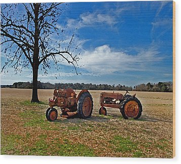2 Old Tractors And The Tree Wood Print by Michael Thomas