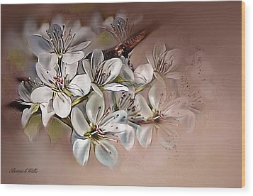 Wood Print featuring the painting Oriental Pear Blossom by Bonnie Willis