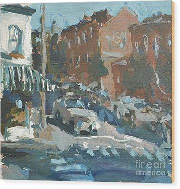 Wood Print featuring the painting Original Contemporary Urban Painting Featuring Richmond Virginia by Robert Joyner