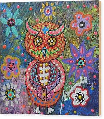 Owl Day Of The Dead Wood Print by Pristine Cartera Turkus