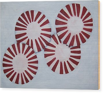 Peppermint Twist Wood Print by Penny Everhart