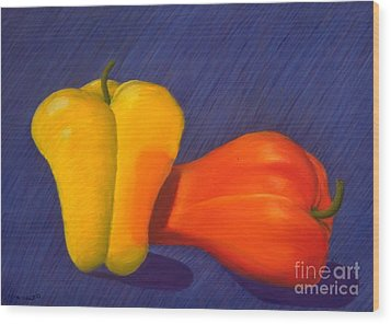 2 Peppers Wood Print by Mary Erbert