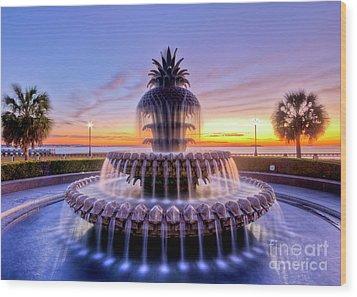 Pineapple Fountain Charleston Sc Sunrise Wood Print by Dustin K Ryan