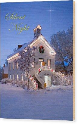 Pioneer Church At Christmas Time Wood Print by Utah Images