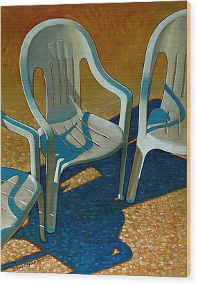 Plastic Patio Chairs Wood Print by Doug Strickland