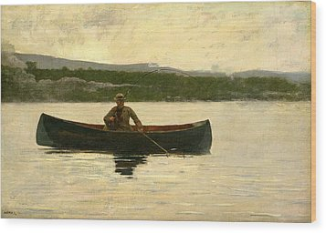 Wood Print featuring the painting Playing A Fish by Winslow Homer