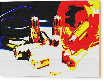 Pop Art Of .45 Cal Bullets Comming Out Of Pill Bottle Wood Print by Michael Ledray