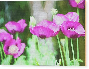 Wood Print featuring the painting Poppies by Bonnie Bruno