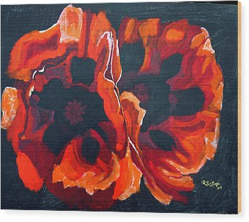 2 Poppies Wood Print