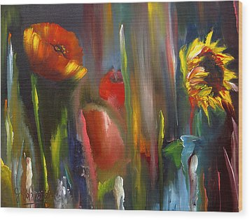 Poppy And Sunflower Wood Print by Jeff Hunter