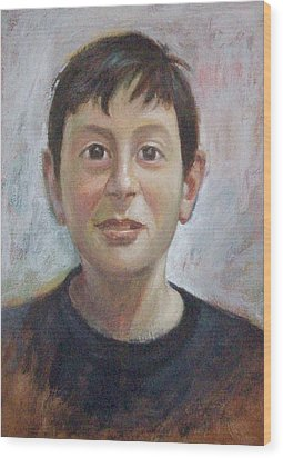 Portrait Of A Boy Wood Print by George Siaba