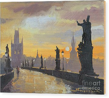 Prague Charles Bridge 01 Wood Print by Yuriy  Shevchuk