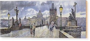 Prague Charles Bridge Wood Print by Yuriy  Shevchuk