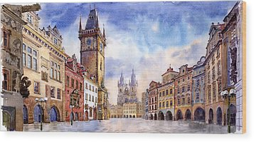 Prague Old Town Square Wood Print by Yuriy  Shevchuk