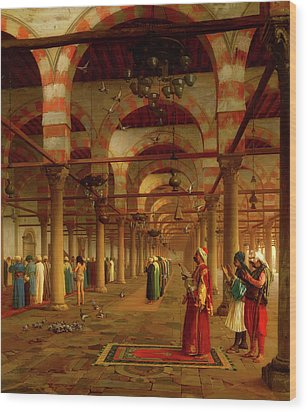 Wood Print featuring the painting Prayer In The Mosque by Jean-Leon Gerome