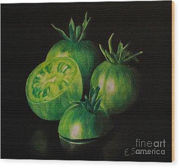 Pre-fried Green Wood Print by Elizabeth Scism