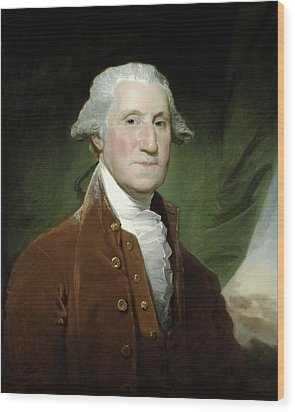 Wood Print featuring the mixed media President George Washington by War Is Hell Store