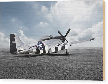 Wood Print featuring the digital art Quick Silver P-51 by Peter Chilelli