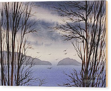 Wood Print featuring the painting Quiet Shore by James Williamson