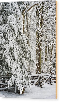 Wood Print featuring the photograph Rail Fence And Snow by Thomas R Fletcher