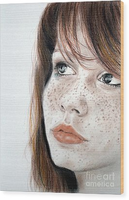 Red Hair And Freckled Beauty Wood Print