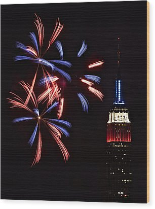 Red White And Blue Wood Print by Susan Candelario